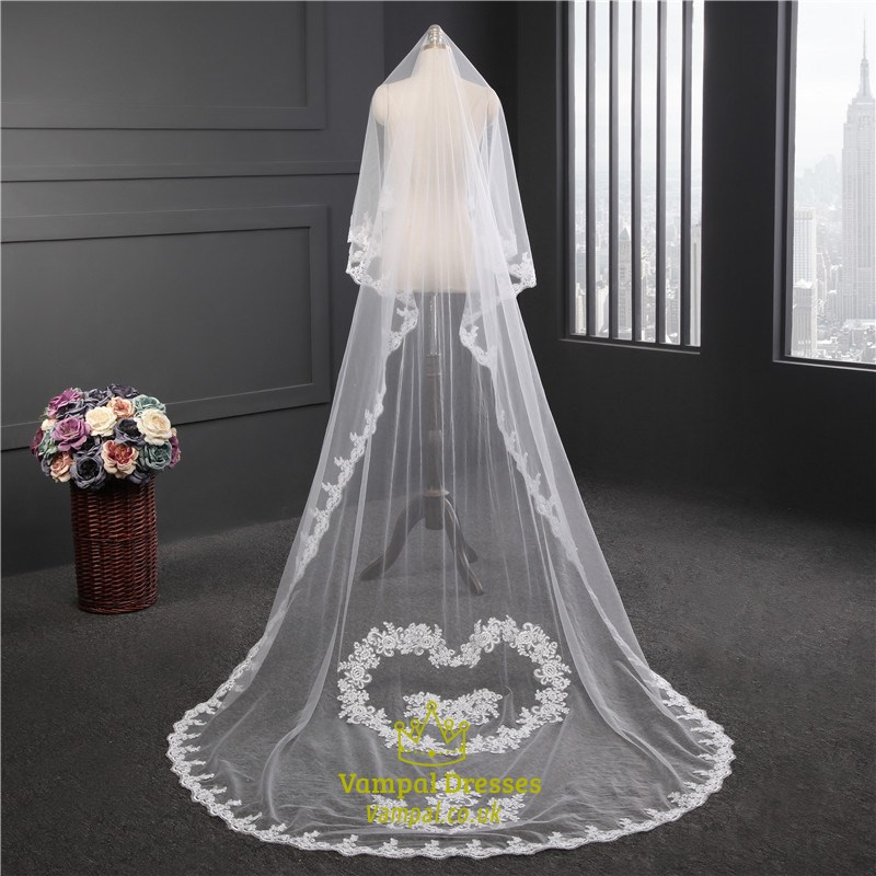 OneTier Chapel Bridal Veils With Lace Applique Embellished  Vampal Dresses