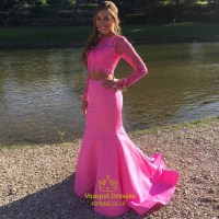 Hot Pink Long Sleeves Lace Top Two Piece Mermaid Prom ...