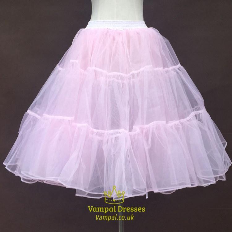 Girls Tulle Netting ALine ShortLength ThreeTier Pink