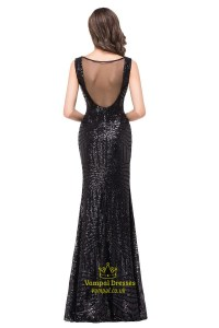 Vintage Sequin Sleeveless V-Neck Bodycon Mermaid Style ...