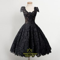 Little Black Lace Overlay Cap Sleeves Dropped Waist ...