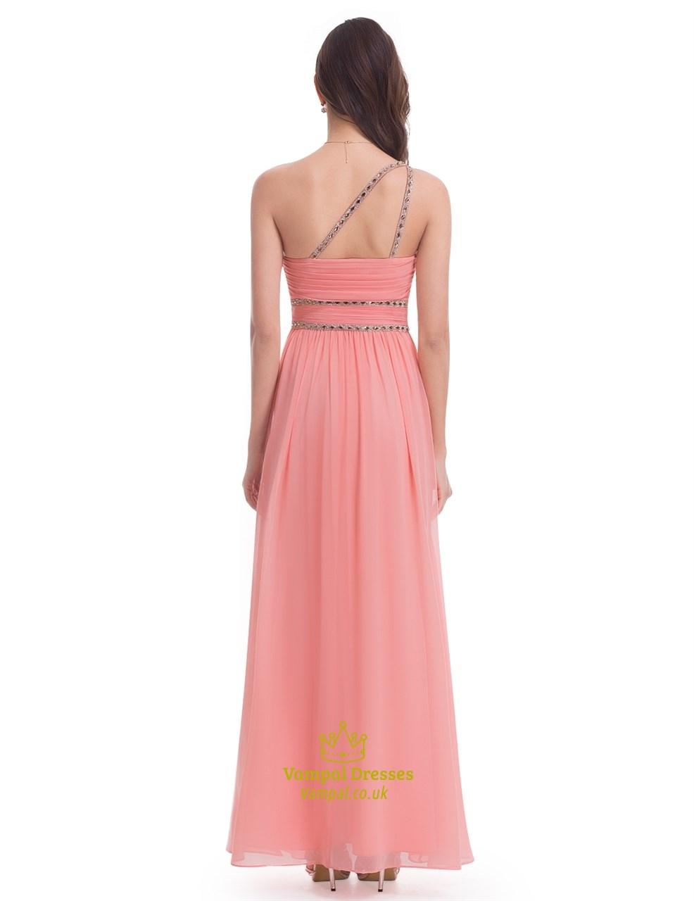 Salmon Chiffon Sleeveless One Shoulder Bridesmaid Dress