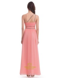 Salmon Chiffon Sleeveless One Shoulder Bridesmaid Dress ...
