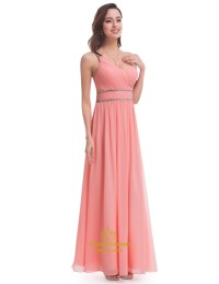 Salmon Chiffon Sleeveless One Shoulder Bridesmaid Dress