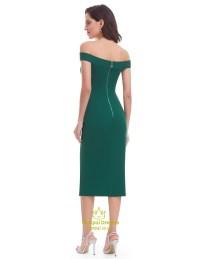 Emerald Green Off The Shoulder Sheath Homecoming Dress ...