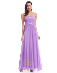 Elegant Lavender Sleeveless Floor Length Chiffon