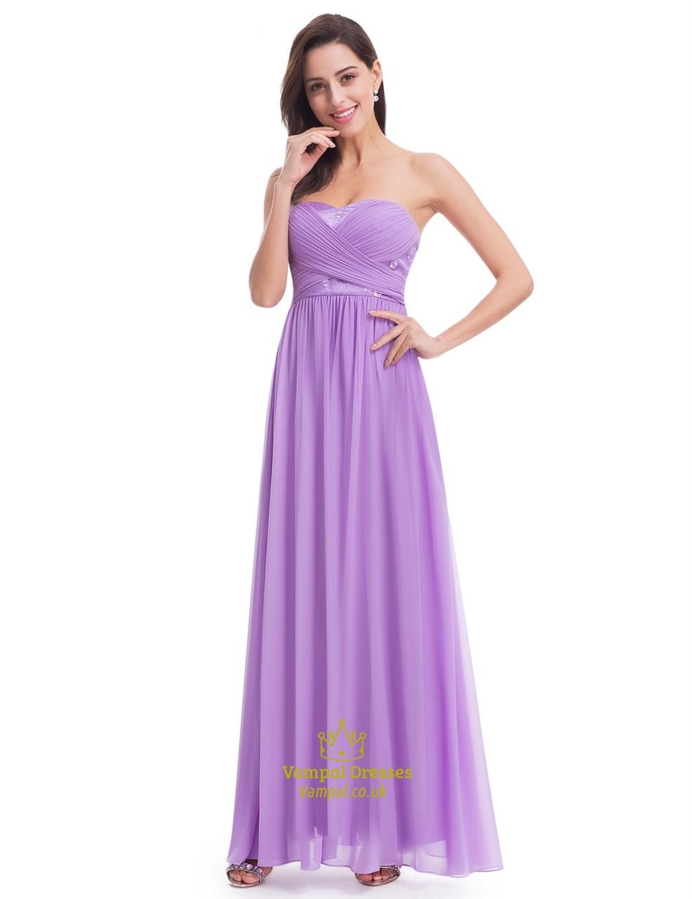 Elegant Lavender Sleeveless Floor Length Chiffon