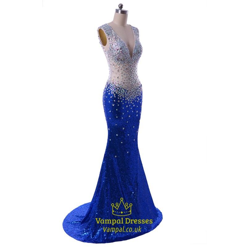 Royal Blue Floor Length Illusion Beaded Bodice Mermaid