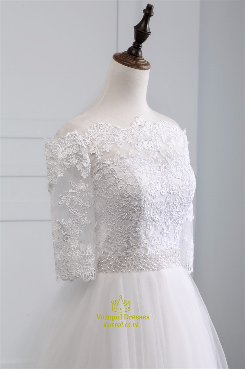 Lace Off The Shoulder Half Sleeve Wedding Dress With Lace