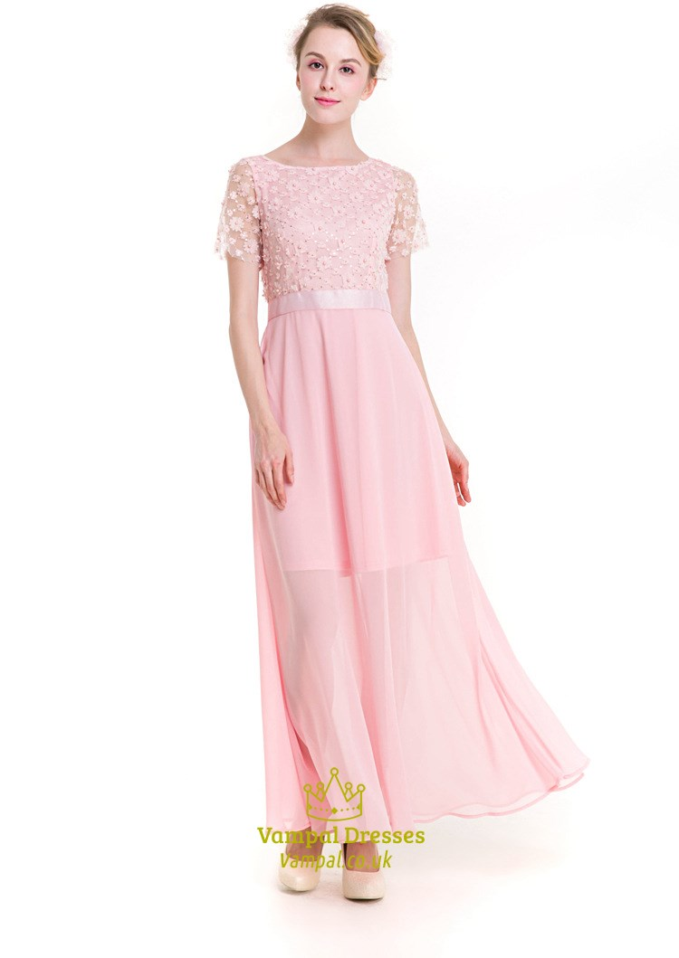 Baby Pink Illusion Short Sleeve Chiffon Maxi Dress With