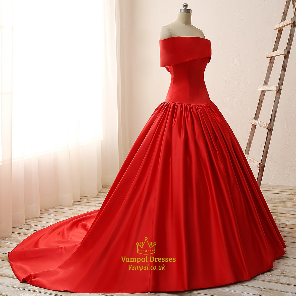 Red OffTheShoulder Elegant Floor Length ALine Ball Gown