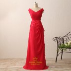Red Cap Sleeve -neck Chiffon Long Prom Dress With