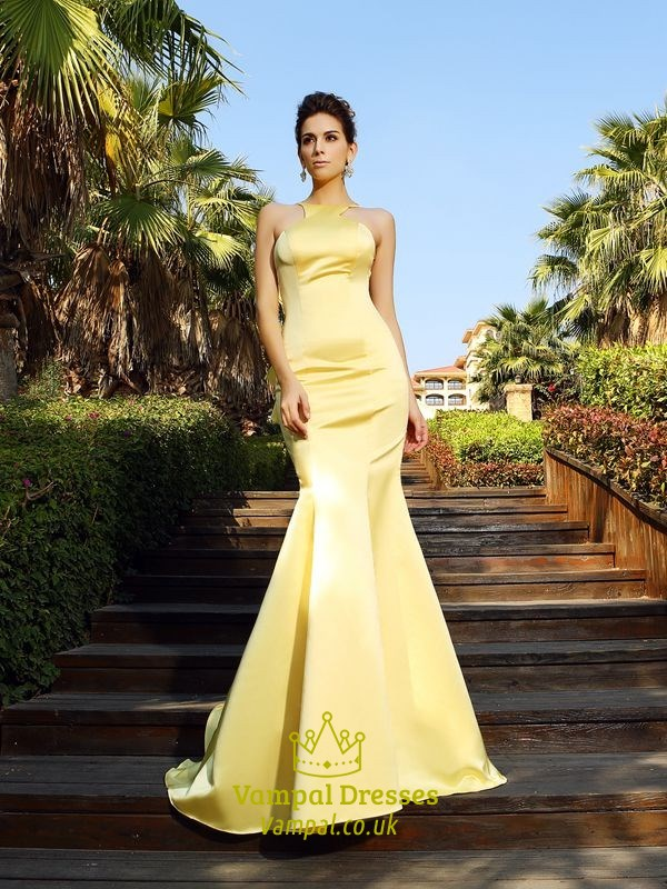 Yellow Elegant Sleeveless Mermaid Ruffle Formal Dress With Open Back  Vampal Dresses