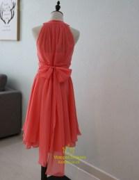 Coral A-Line Short Sleeveless Chiffon Bridesmaid Dress ...