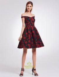 Charming Short Off The Shoulder A-Line Floral Print ...