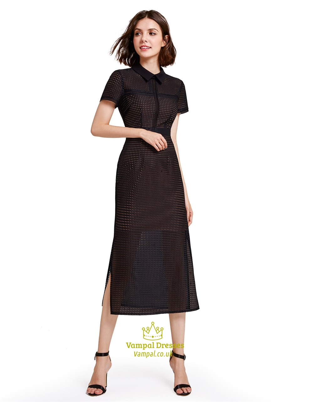 Short Sleeve Elegant Tea Length Black Sheath Dress With