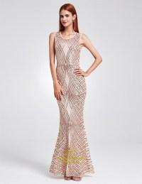 Elegant Sleeveless Sequin Embellished Mermaid Floor Length ...
