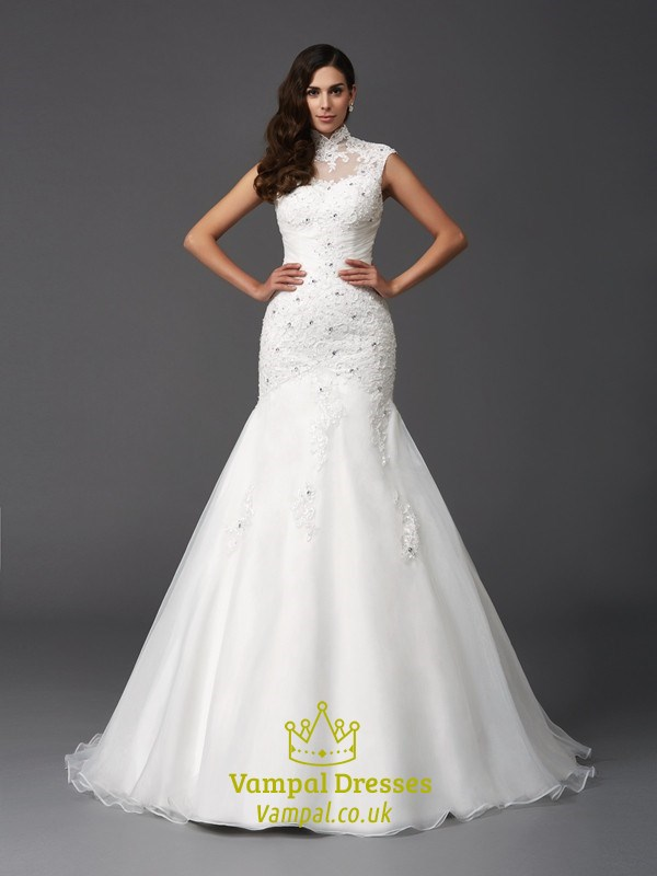 HighNeck Cap Sleeve Mermaid Ball Gown Wedding Dress With Lace Bodice  Vampal Dresses