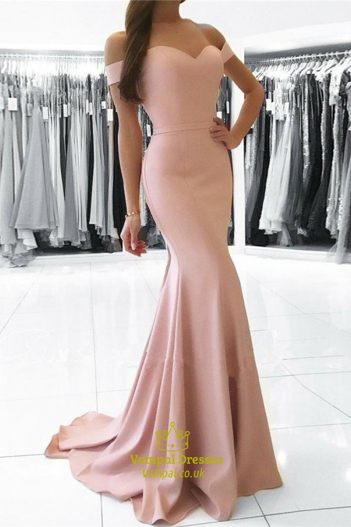 Blush Pink Pink Off The Shoulder Sweetheart Floor Length Mermaid Evening Dress  Vampal Dresses