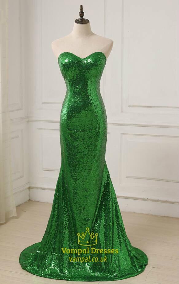 Simple Green Sweetheart Neckline Sleeveless Sequin Long