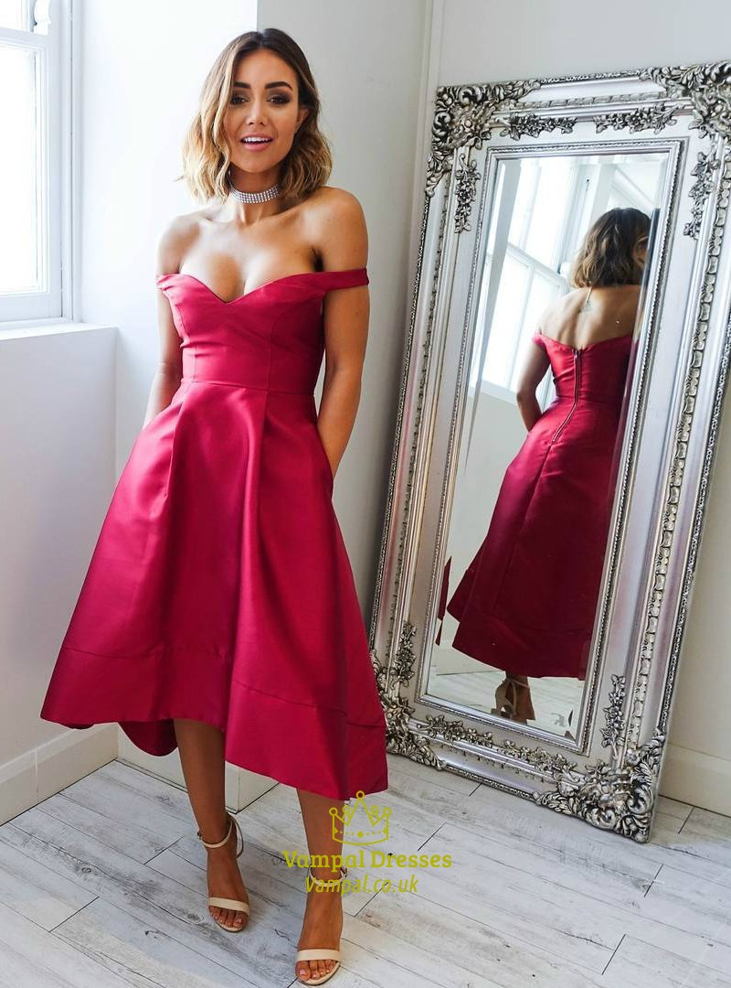 Red Off The Shoulder Tea Length Satin Prom Dresses With