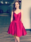 Burgundy Spaghetti Strap Short Prom Dress With Pockets And