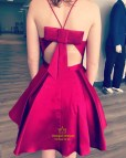 Maroon Short Dress with Straps