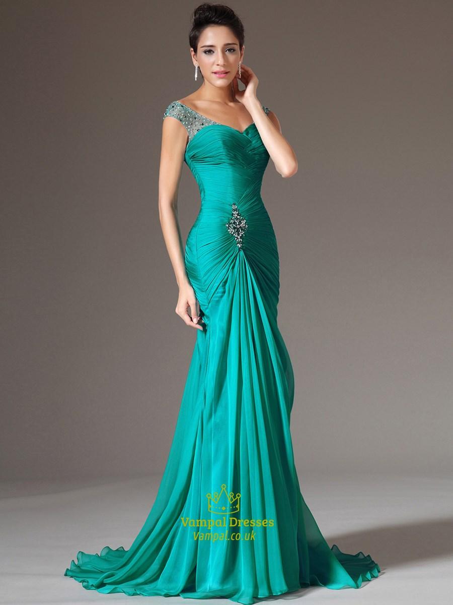 Aqua Blue V Neck Sleeveless Beaded Ruched Sheath Long Prom Dress  Vampal Dresses