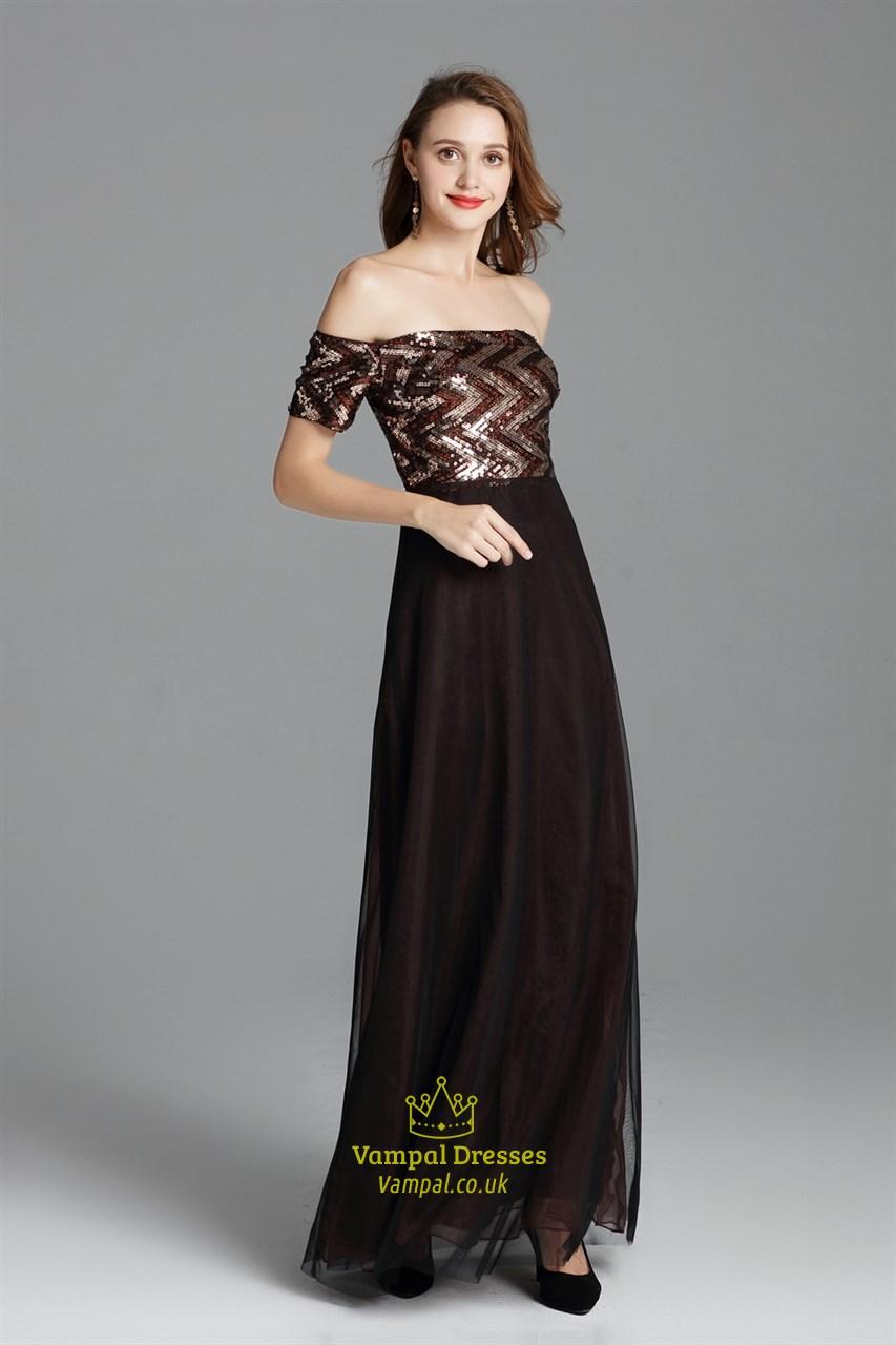 V Neck Champagne Long Sequin Side Slits Formal Prom Dress