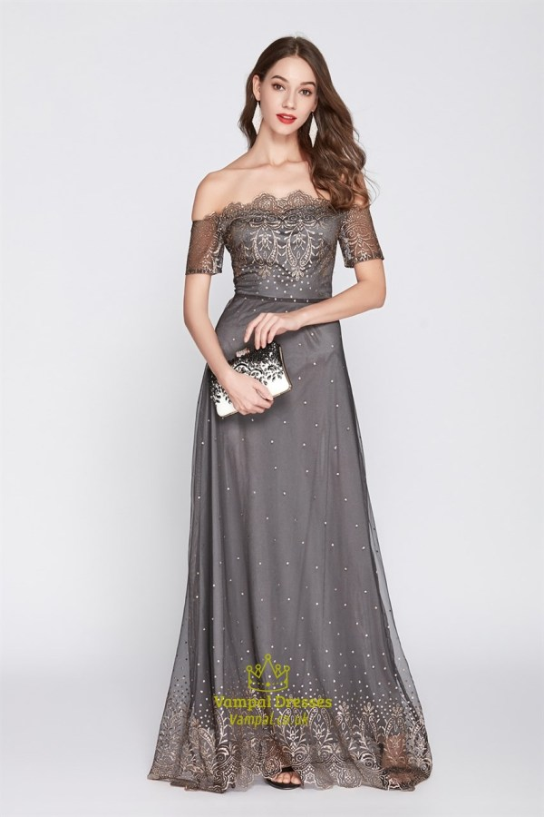 Grey Embroidered Shoulder Tulle Prom Dress With