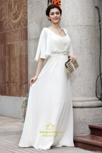 Long White Prom Dresses With Sleeves,White Long Sleeve ...