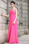 Hot Pink Prom Dress with Sleeves