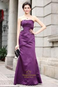 Purple Sweetheart Prom Dresses Long,Long Purple Satin