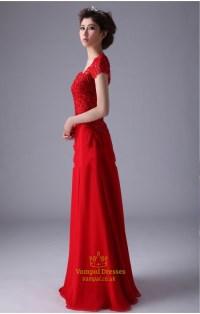 Red Cap Sleeve Prom Dresses ,Red Long Chiffon Prom Dress ...