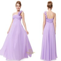 Lavender Chiffon One Shoulder Bridesmaid Dresses Long,One