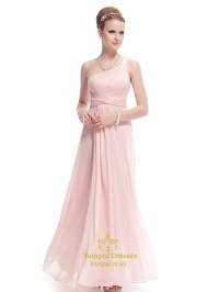 Blush Pink One Shoulder Bridesmaid Dress,Petal Pink ...