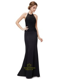 Black Mermaid Dress Open Back,High Neck Mermaid Prom ...