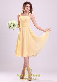 Pale Yellow Bridesmaid Dresses UK,Yellow Chiffon ...