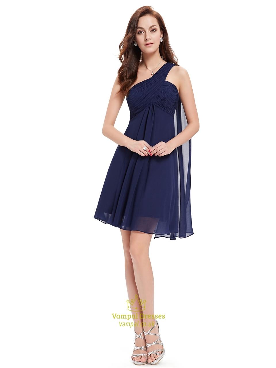 Navy Blue One Shoulder Chiffon Short Bridesmaid Dress With