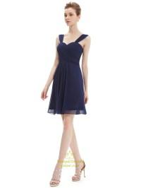 Navy Blue Chiffon Ruched Bodice Short Bridesmaid Dress ...