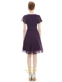 Grape A Line Scoop Neck Chiffon Short Bridesmaid Dresses ...
