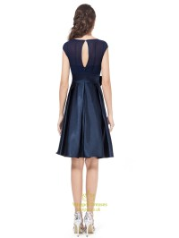 Navy Blue Knee Length Chiffon And Satin Cocktail Dress ...