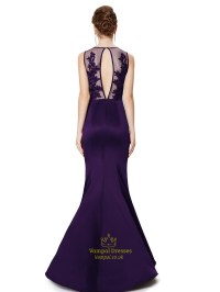 Purple Mermaid Illusion Neckline Prom Dresses With Floral ...
