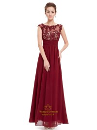 Burgundy Lace Bodice Scoop Neck Chiffon Prom Dress With ...