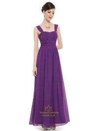 Purple Chiffon Ruched Bodice Floor Length Bridesmaid Dress ...