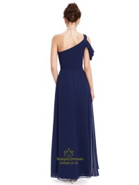 Navy Blue One Shoulder Chiffon Long Bridesmaid Dress With ...