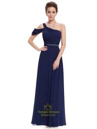 Navy Blue One Shoulder Chiffon Long Bridesmaid Dress With ...