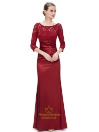 Red Lace Bodice Mother Of The Bride Dress With 3/4 Length