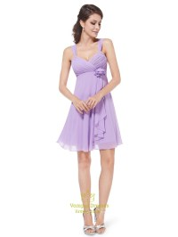Lilac Chiffon Empire Knee Length Bridesmaid Dresses With ...