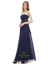 Navy Blue Strapless Floor Length Chiffon Bridesmaid Dress ...
